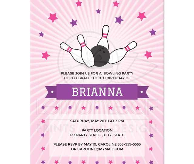 Pink Bowling Party Invitation For Girls With Bowling Ball Knocking Down Pins