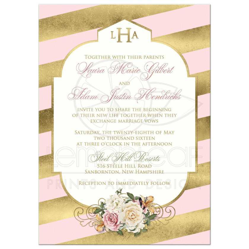 Blush Pink Ivory And Gold Damask Wedding Invitation