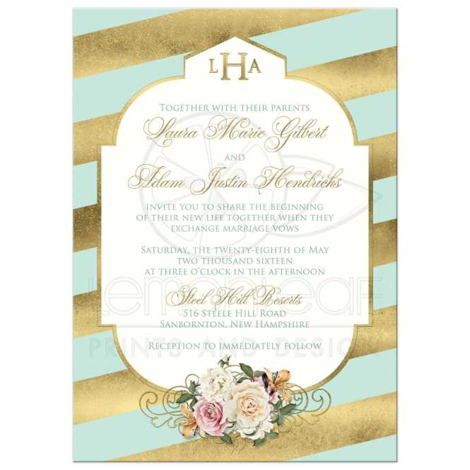 Monogrammed Wedding Invitation Mint Faux Gold Scroll Stripes Vintage Cream And Pink Roses