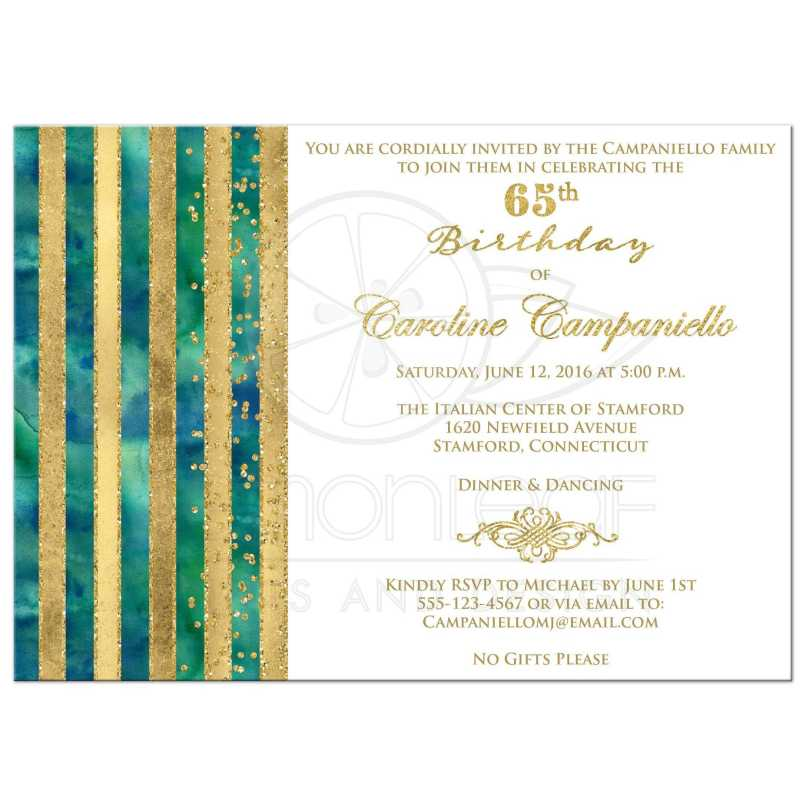 You have been cordially invited birthday invitationjpg 65th birthday invitation pea blue green watercolors gold filmwisefo