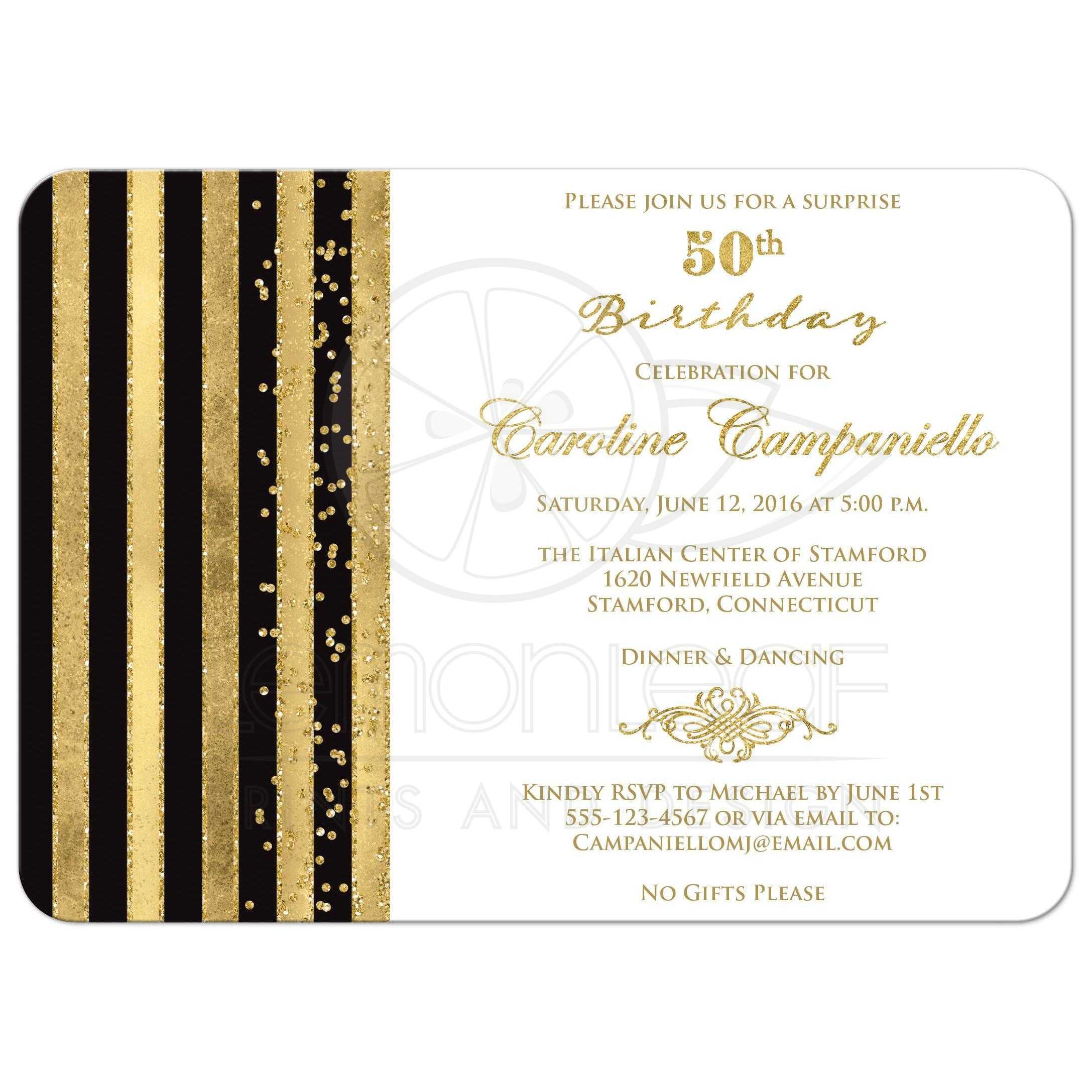 50th birthday invitation black white gold stripes faux glitter simulated gold foil scroll