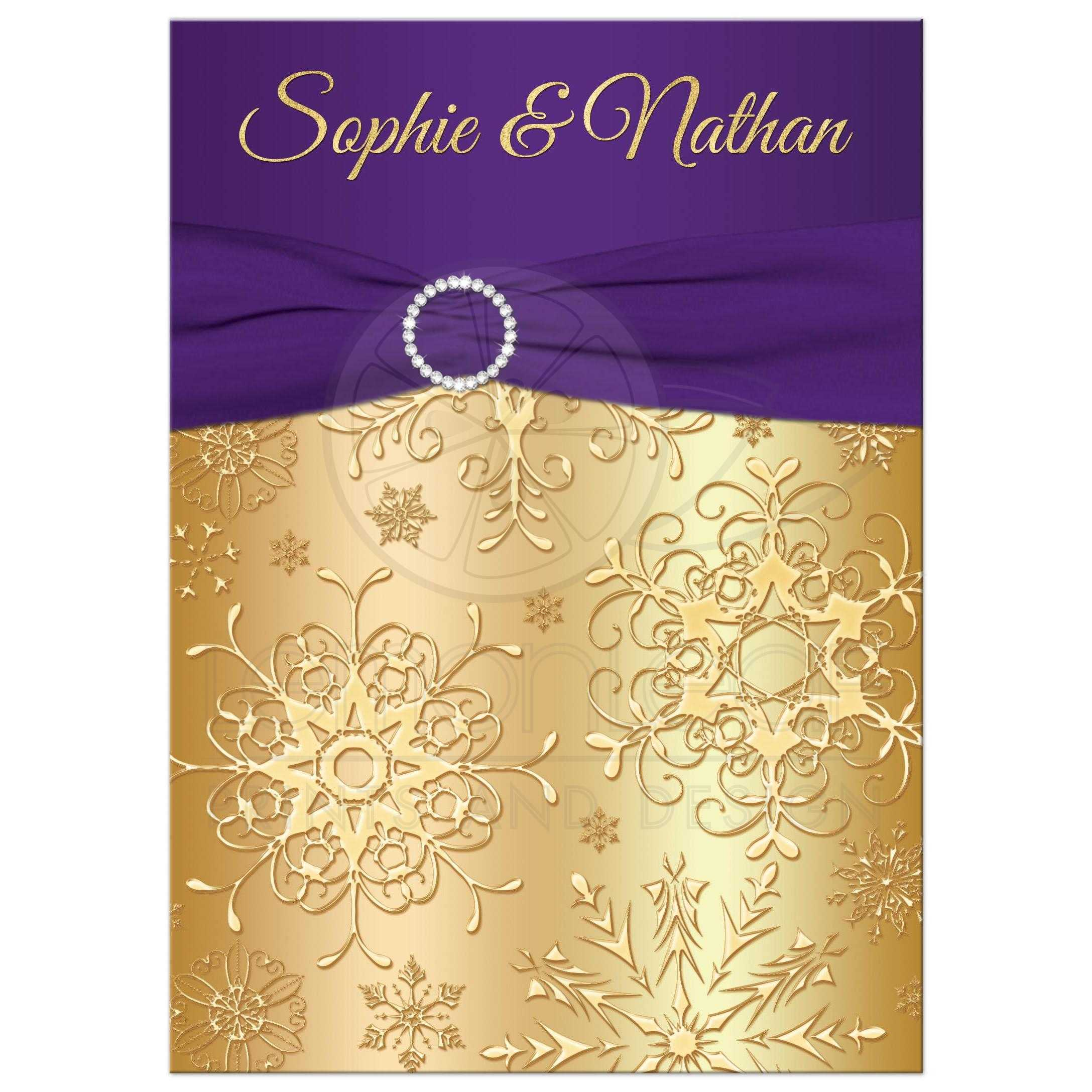 Winter Wedding Invitation Purple Gold Snowflakes