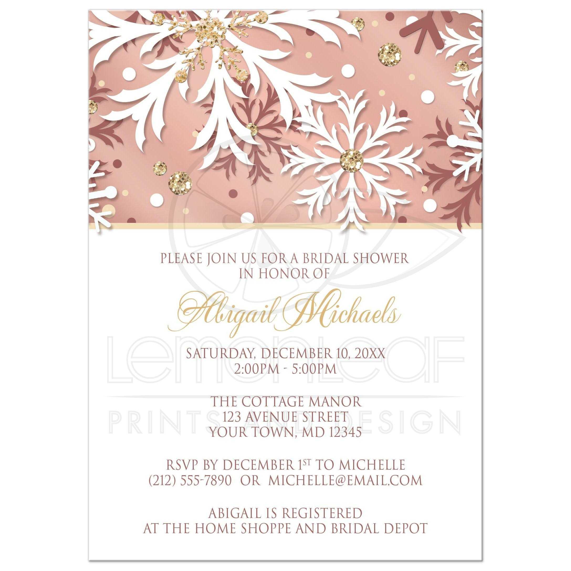 Bridal Shower Invitations Rose Gold Winter Snowflake