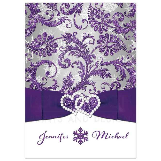 Winter Wonderland Wedding Invitation Purple Silver White Snowflakes Printed Jewel Faux Glitter Joined Hearts