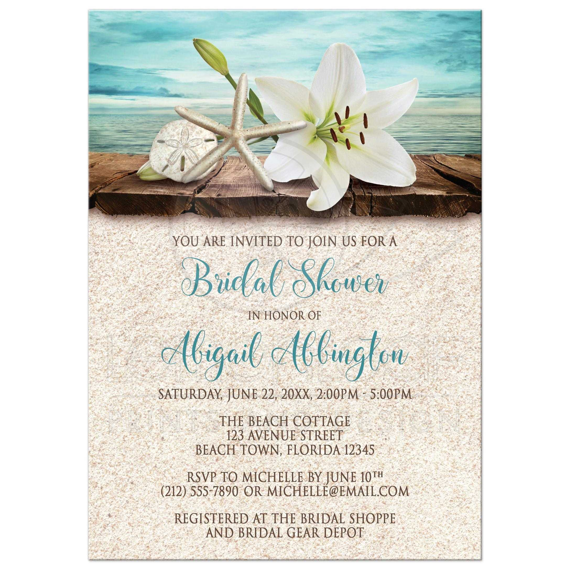 bridal shower invitations beach