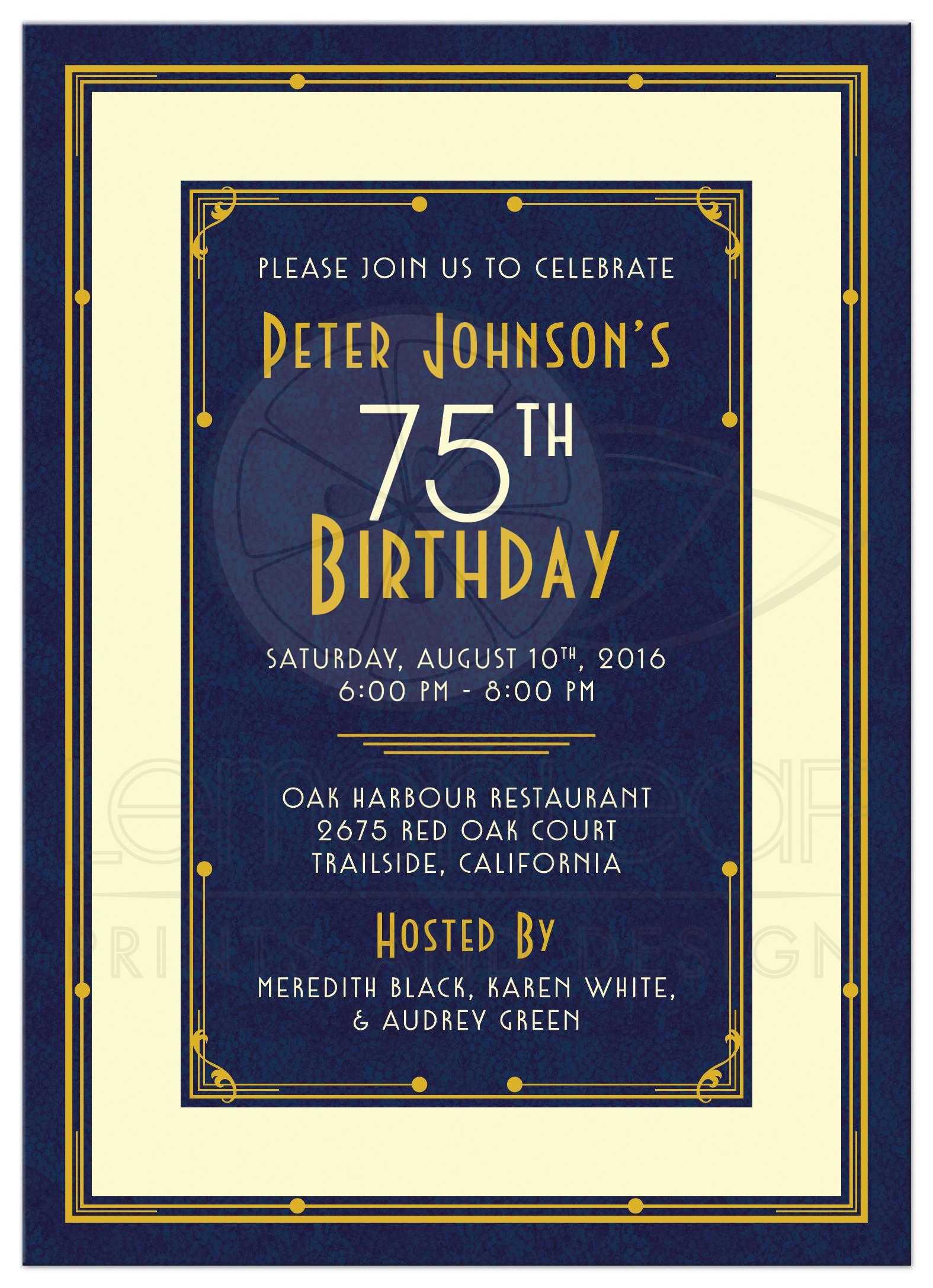 man s 75th birthday invitation art deco navy blue and gold