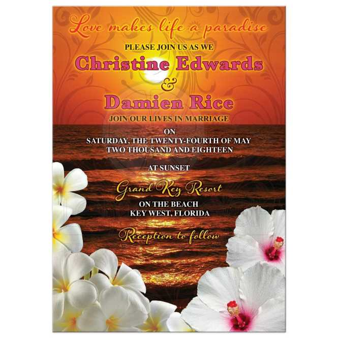 Sunset Beach Destination Wedding Invitations