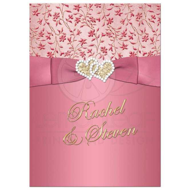 Rose Gold Glitter And Blush Shimmer Pocketfold Wedding Invitation Suite