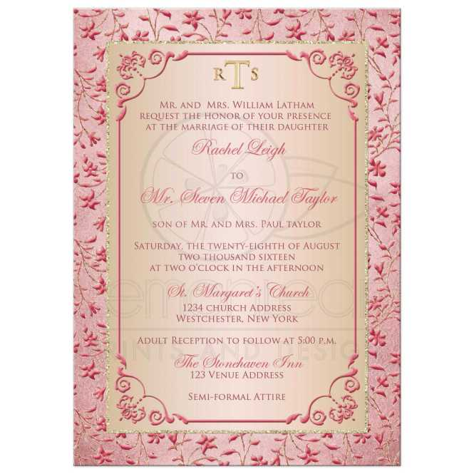 Monogrammed Wedding Invitation Blush Pink Dusty Rose Champagne Fl Faux Gold Glitter