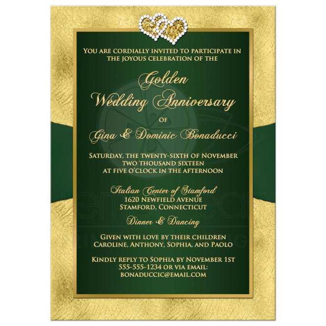 Elegant 50th Wedding Anniversary Photo Invitations