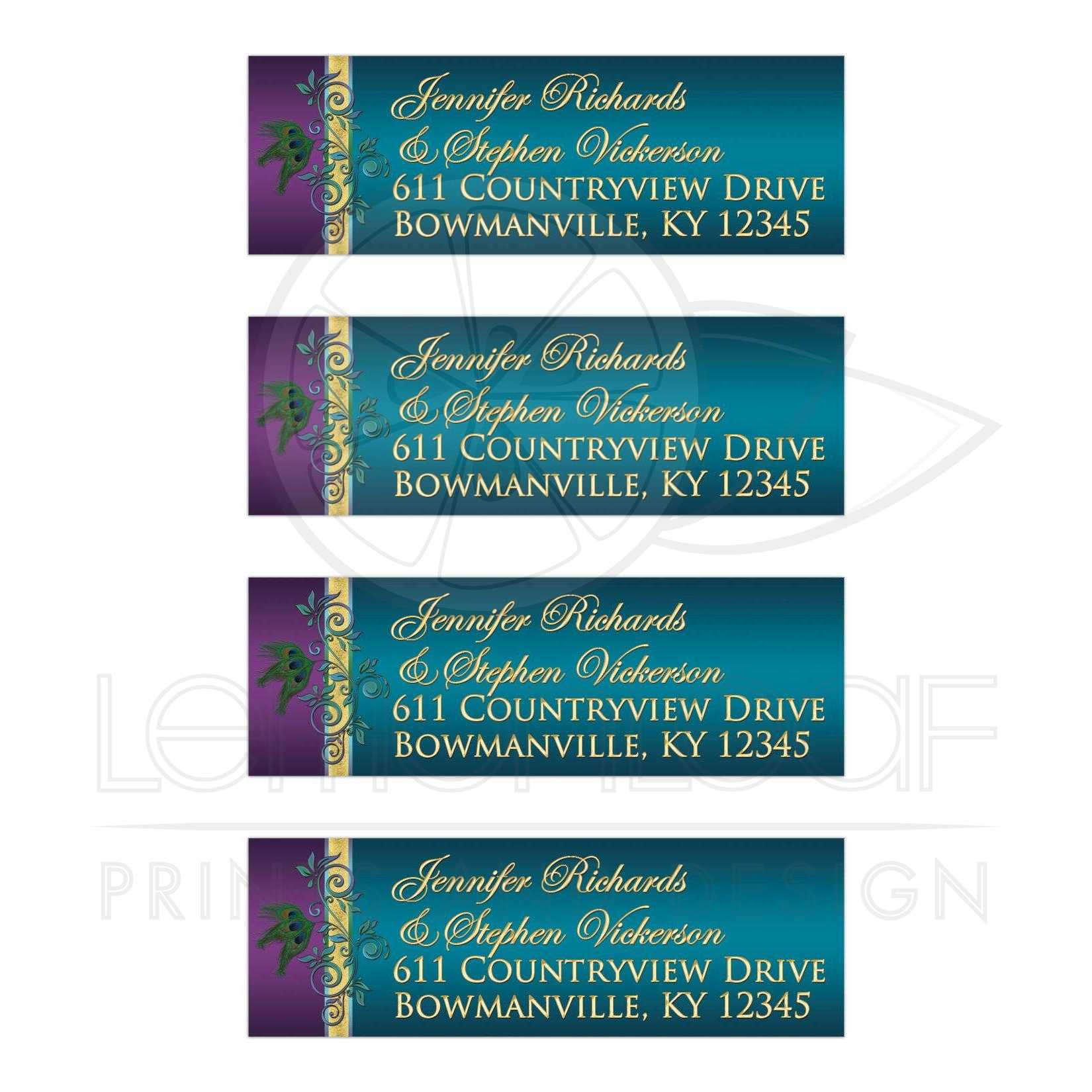 address labels purple teal