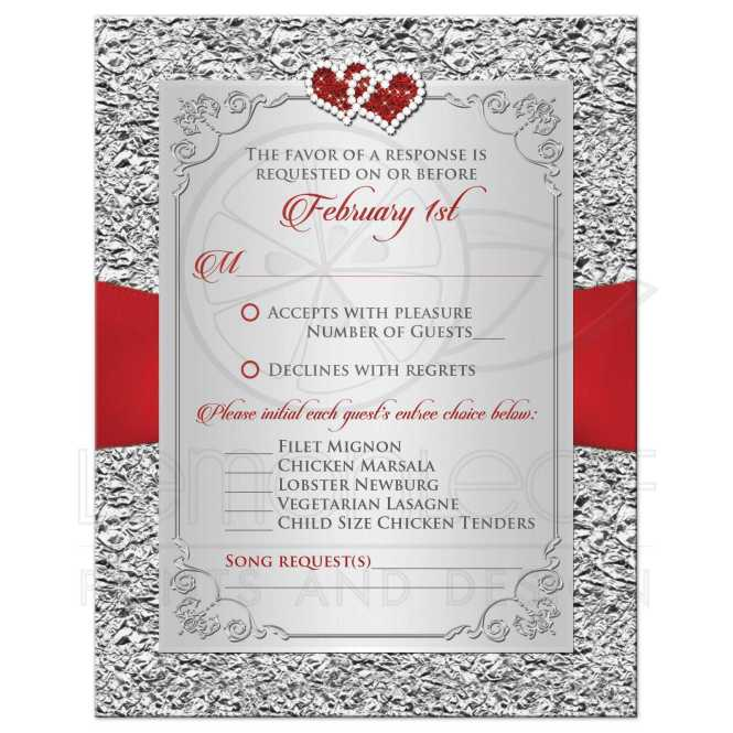 Wedding Rsvp Card Black Red Silver Fl Joined Hearts Faux Foil