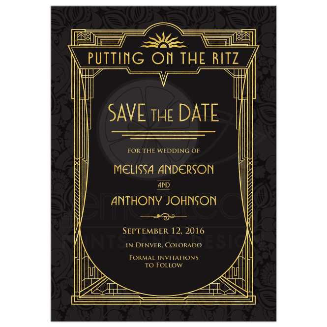 Art Deco Wedding Save The Date Card