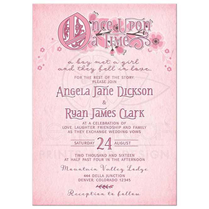 Fairy Tale Fl Wedding Invitation