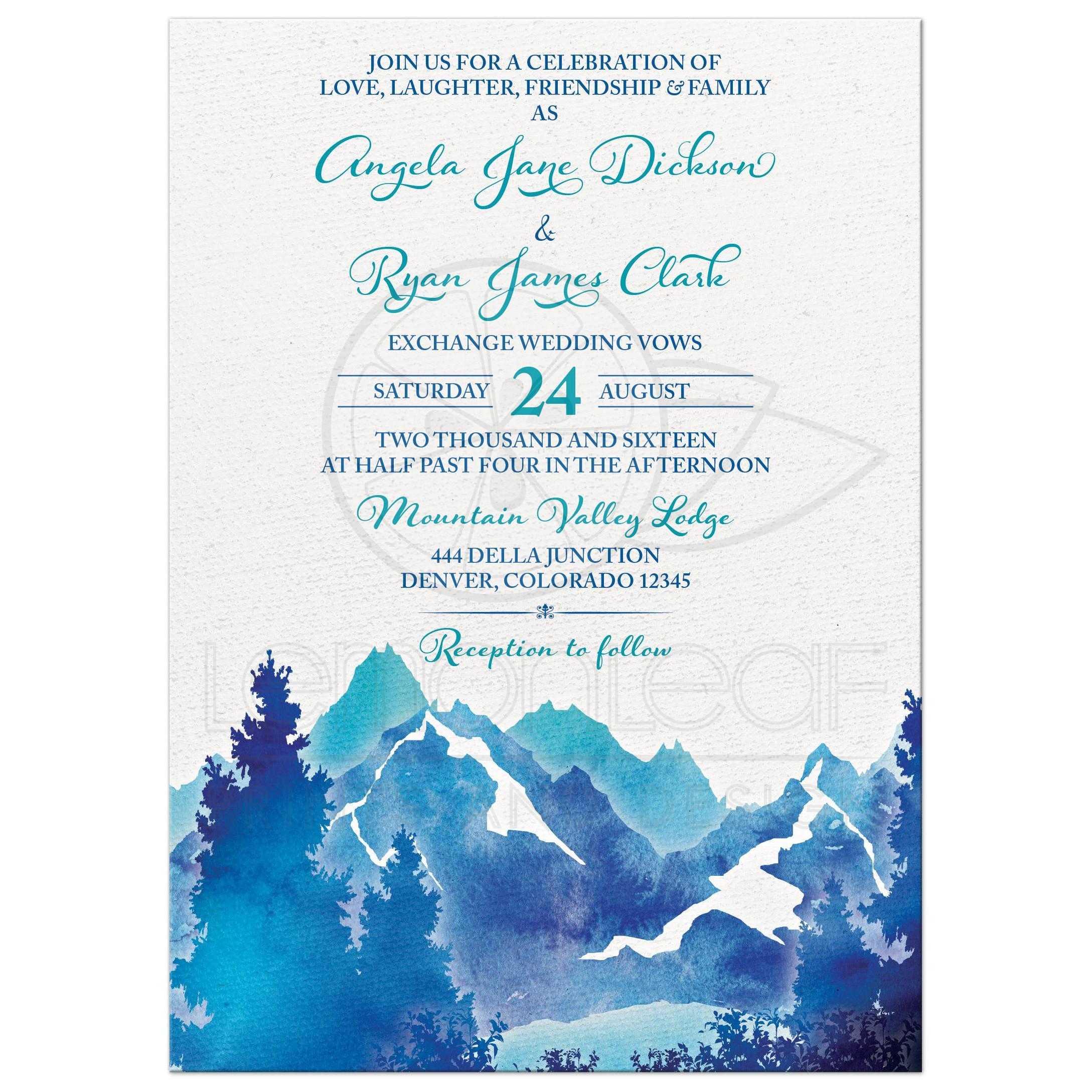 mountain wedding invitation watercolor