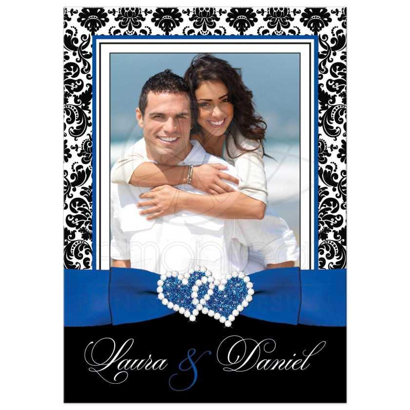 Great Royal Blue Black And White Damask Photo Wedding Invitation With Ribbon
