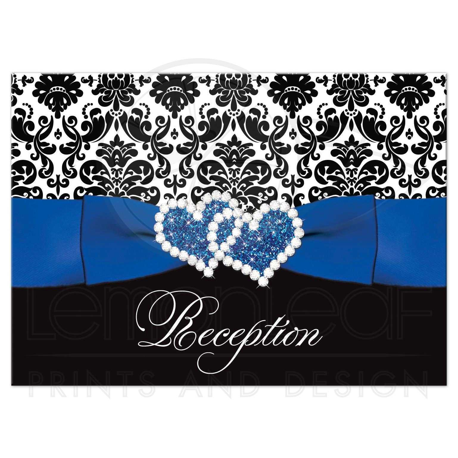 Wedding Reception Enclosure Card  Royal Blue White