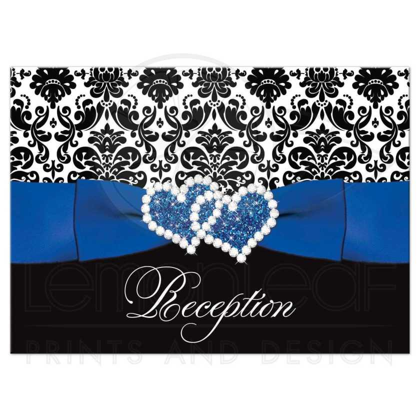 Best Royal Blue Black And White Damask Wedding Reception Enclosure Cards With Ribbon