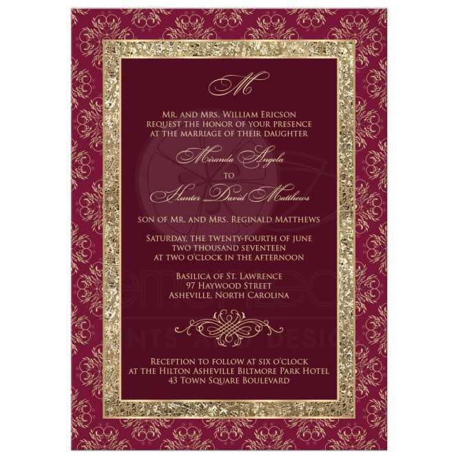 Wedding Invitation Burgundy Gold Elegance Monogram