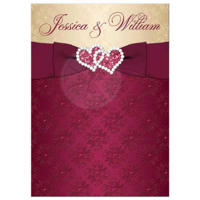 Wedding Invitation Burgundy Gold Damask Printed Ribbon Joined Hearts