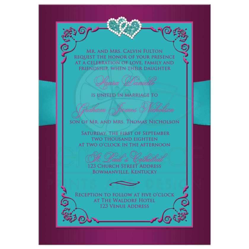 Teal Blue And Magenta Pink Fl Wedding Invites With Ribbon Bow