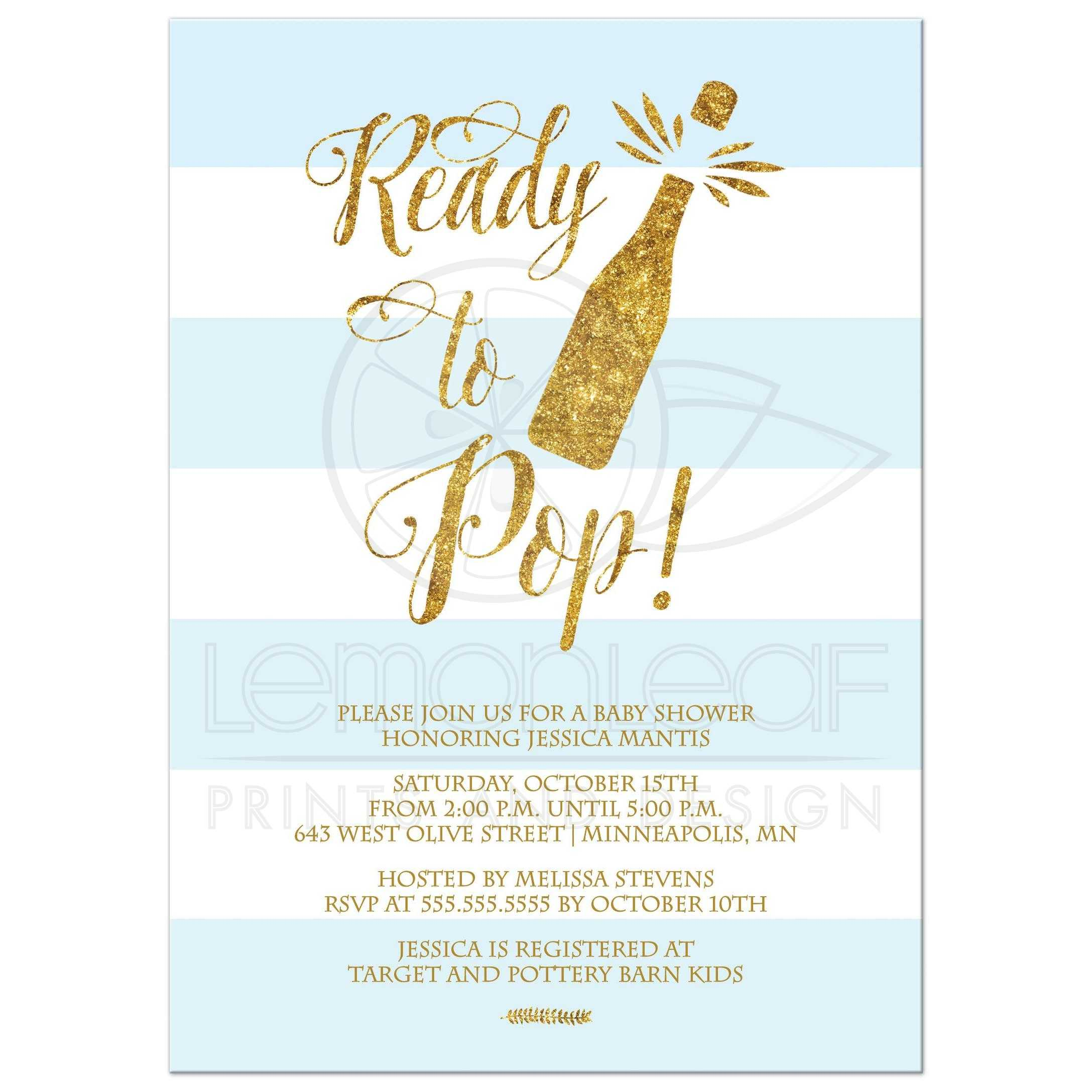 Ready to pop blue stripes and gold boy baby shower invitation ...