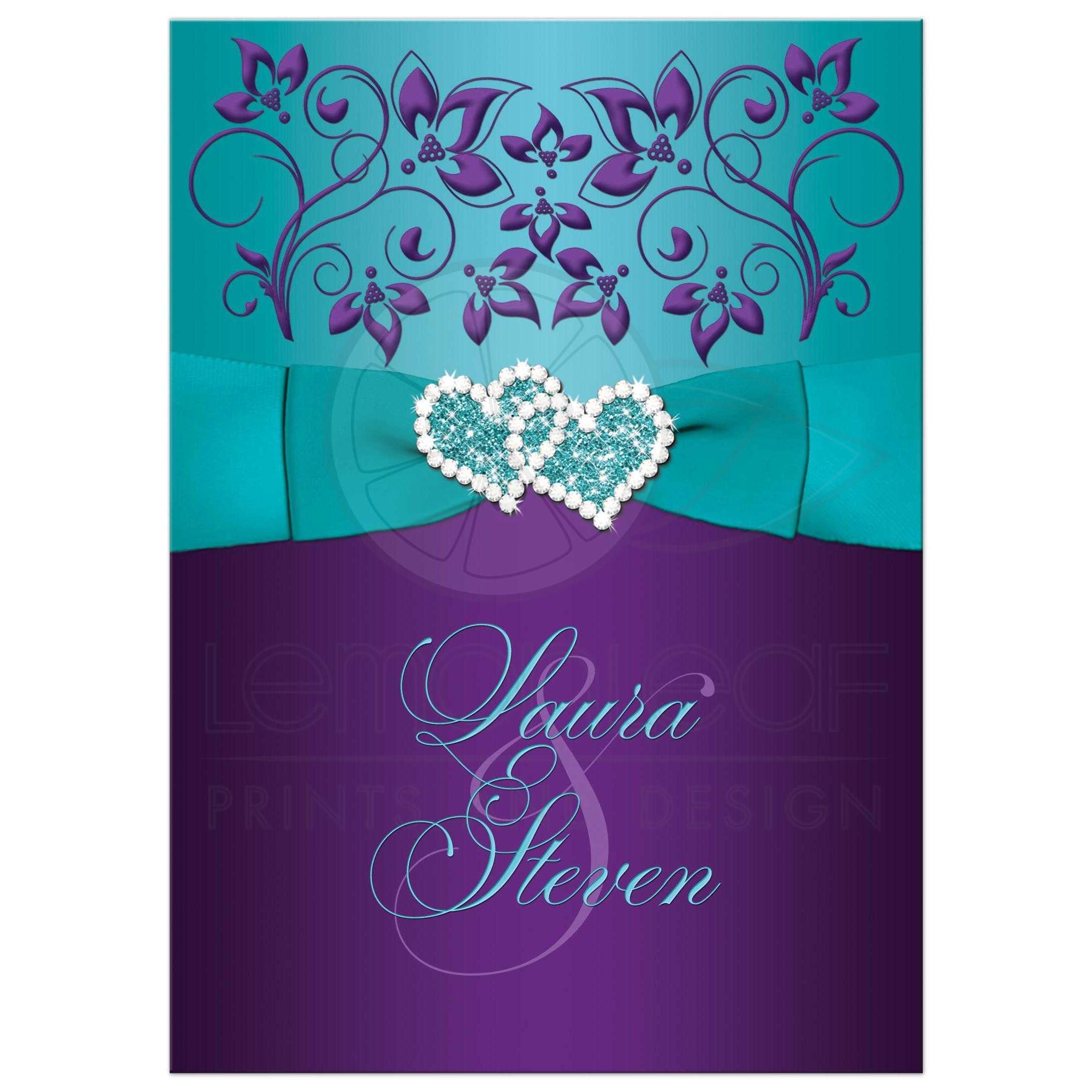 Wedding Invitation  Purple Aqua White Floral  PRINTED