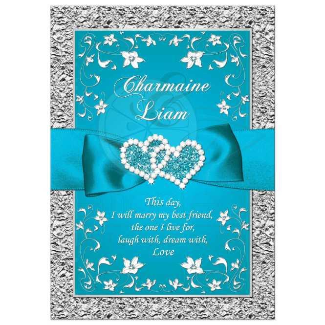Royal Blue Silver Ornate Scrolls Wedding Invite