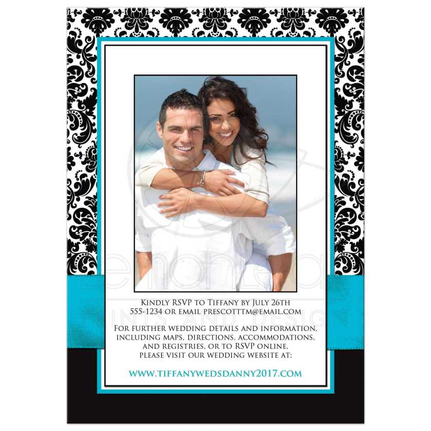 Black And White Damask Wedding Invite With Teal Ribbon Jewelled Joined Hearts