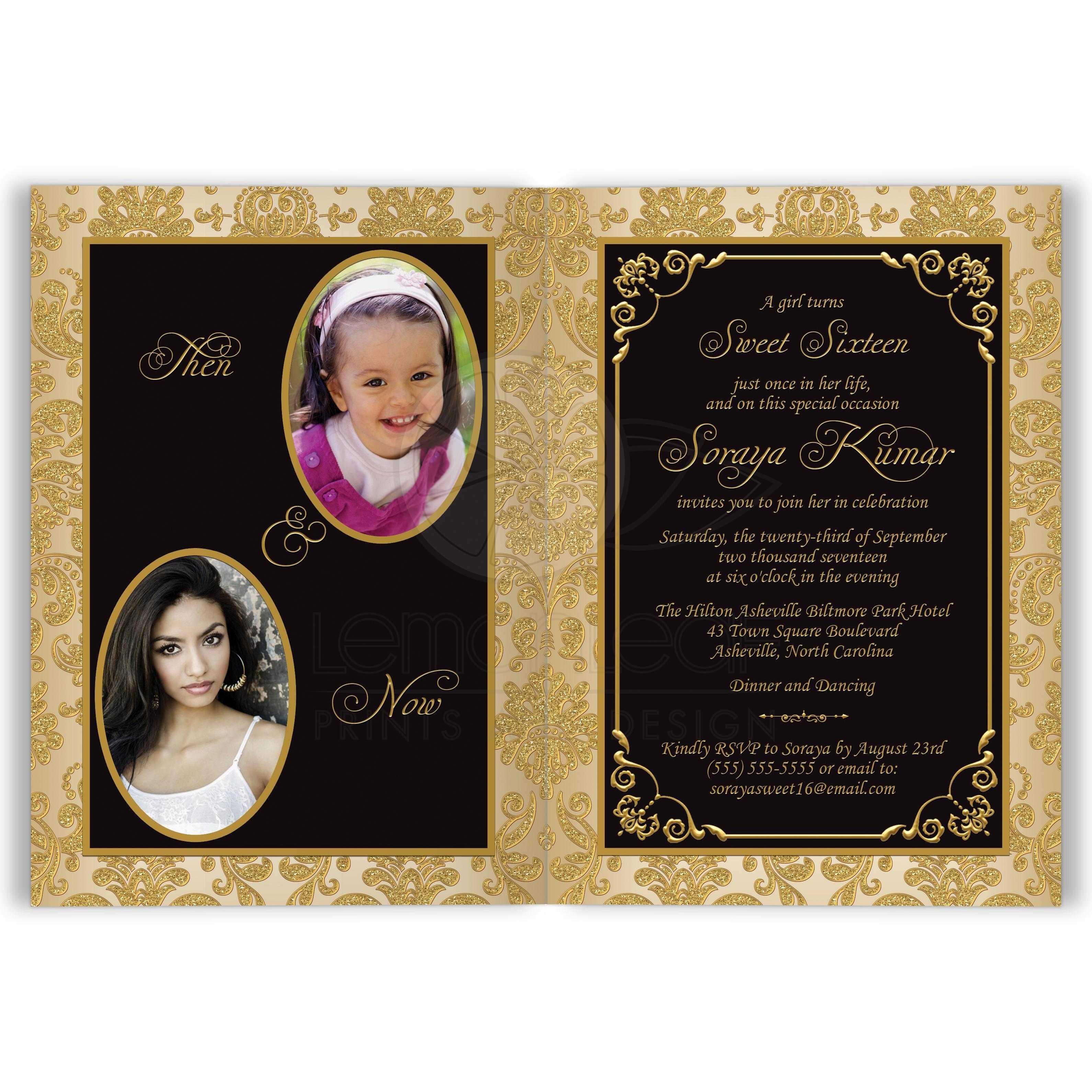 sweet 16th birthday invitation card optional photos black and gold damask scrolls