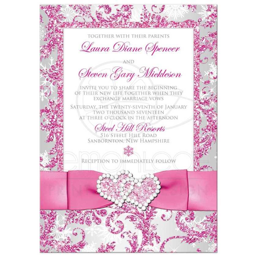 Winter Wonderland Photo Template Wedding Invite In Pink Silver Grey And White Snowflakes With
