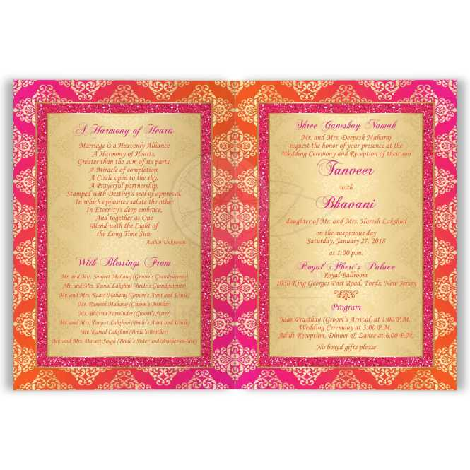 Indian Wedding Invitation Card Orange Fuchsia Gold Damask Faux Pink Glitter Scroll