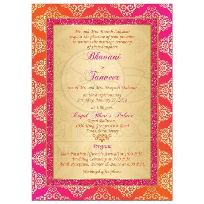 Wedding Invitation Orange Fuchsia Gold Damask Faux Pink Glitter Scroll