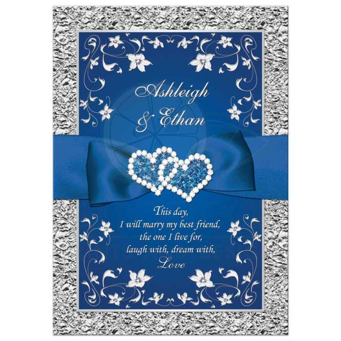 Royal Blue And Silver Fl Wedding Invitation With Joined Hearts