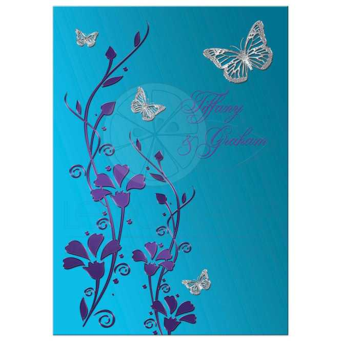 Wedding Invitation Turquoise Blue Purple Silver Flowers Erflies