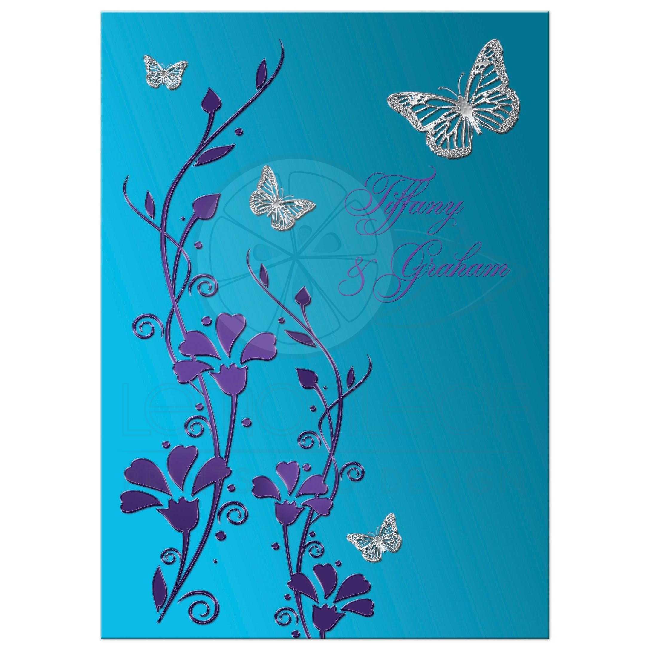 Wedding Invitation  Turquoise Blue Purple Silver