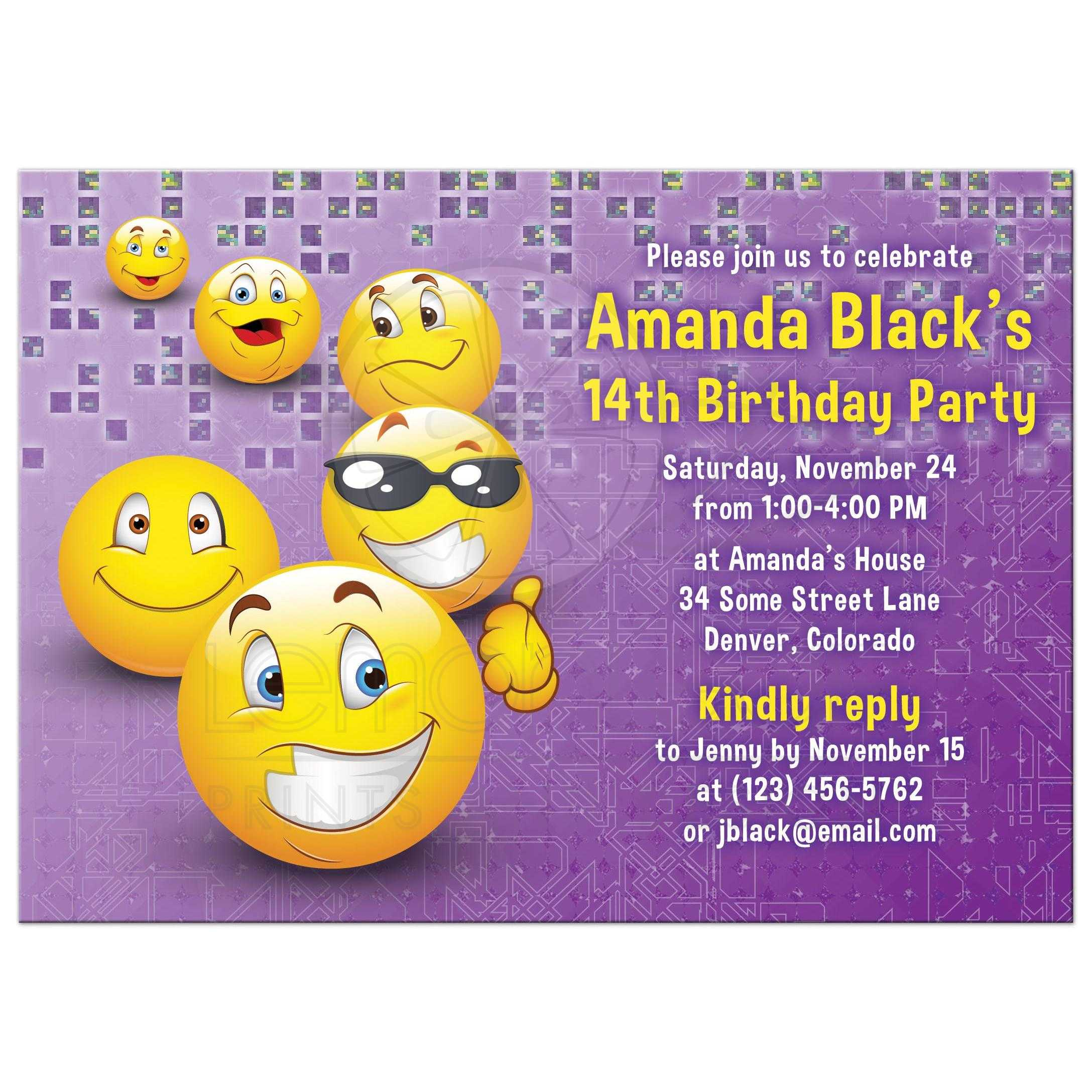 social media emoji birthday invitation purple yellow smiley