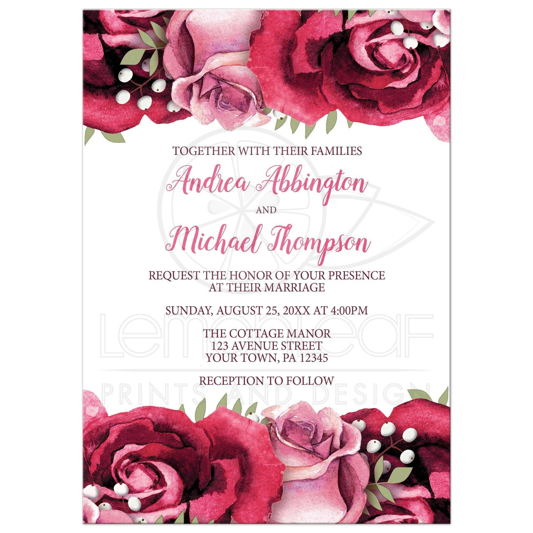 Wedding Invitations Burgundy Pink Rose White Rustic
