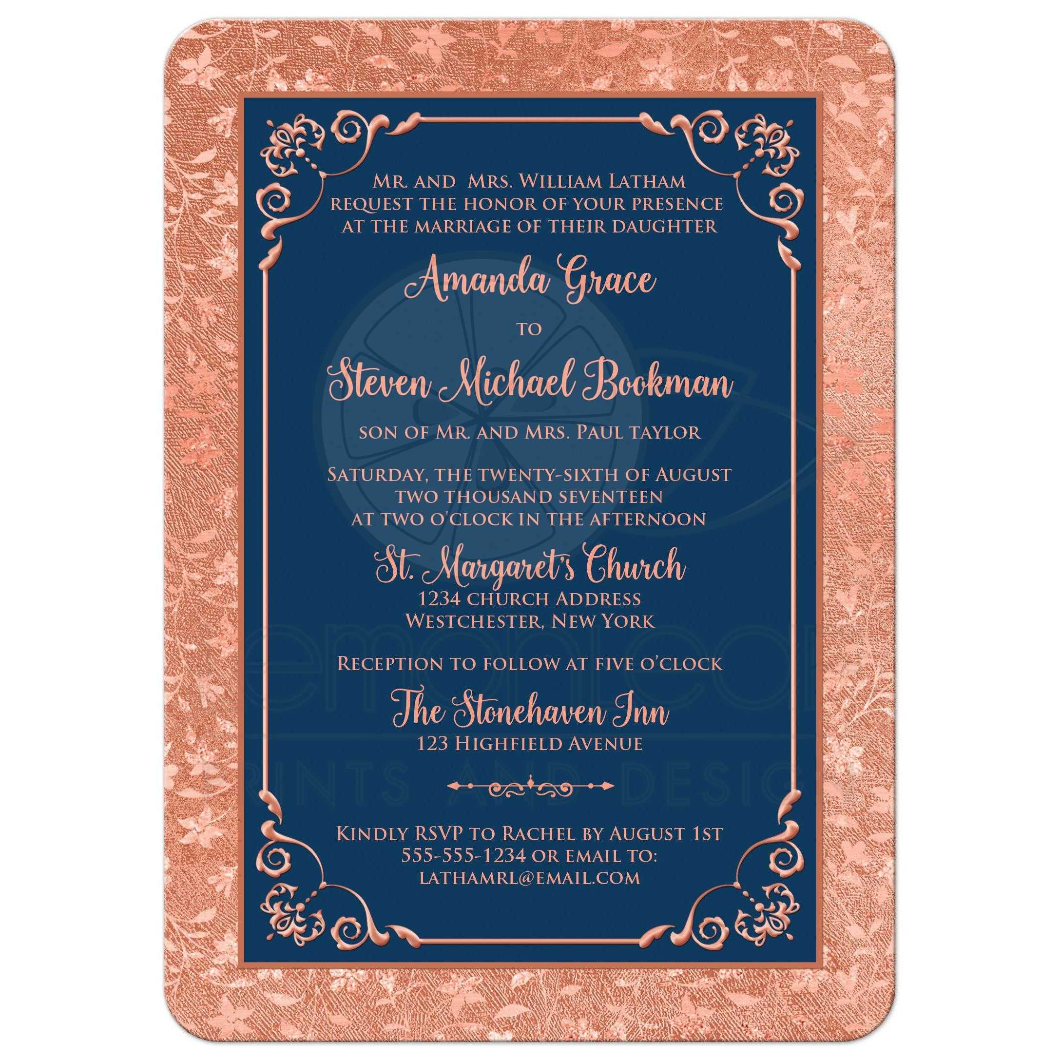 Navy Blue and Copper Look or Rose Gold Floral Wedding