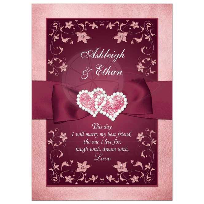 Burgundy Blush Wedding Invitation Printed Ribbon Jewels Flowers Scrolls
