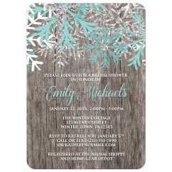 Personalized Kitchen Items Moen Faucets Lowes Bridal Shower Invitations - Teal Snowflake Rustic Winter Wood