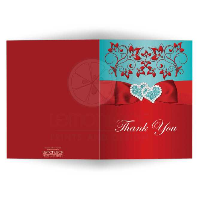 Photo Optional Thank You Card Joined Jeweled Hearts Printed Ribbon Bow Red Aqua Blue Fl