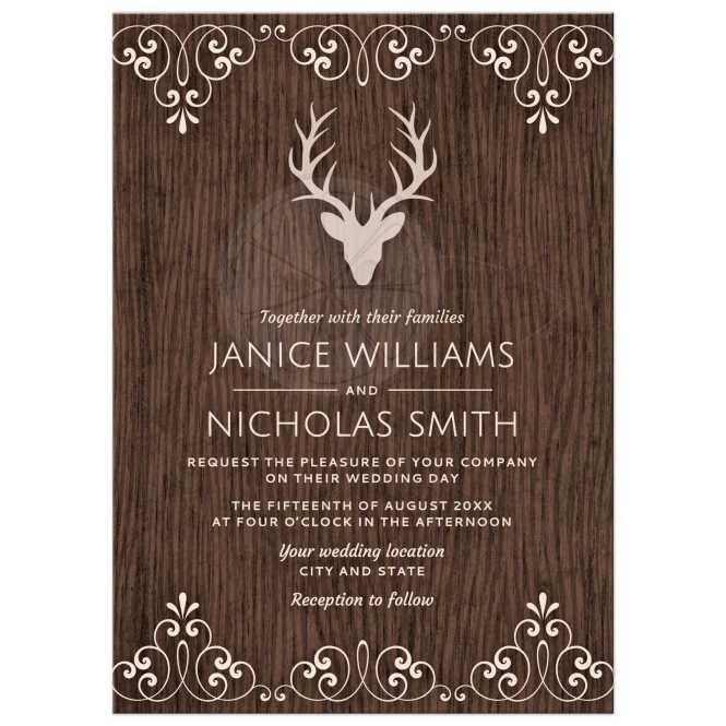Stag On Wood Elegant Wedding Invitation