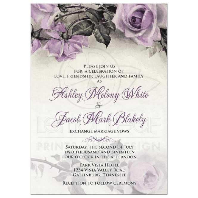 Vintage Mauve Purple Rose Wedding Invitation
