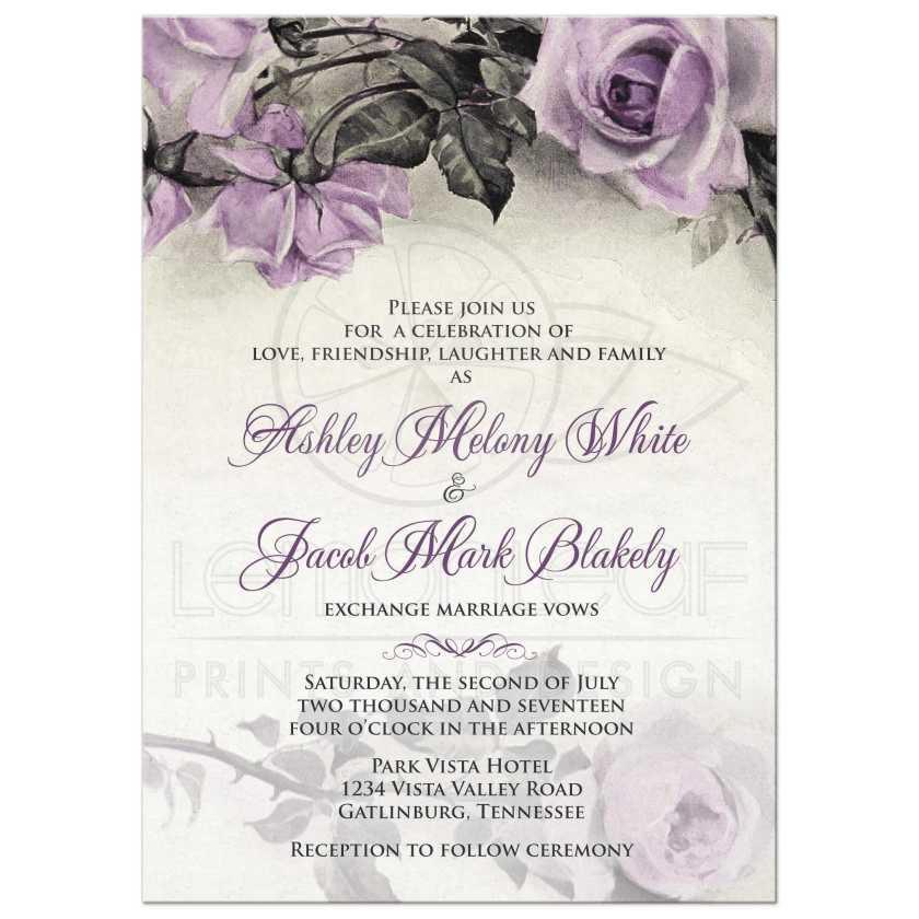 Vine Mauve Purple Grey Ivory Rose Wedding Invitation Front