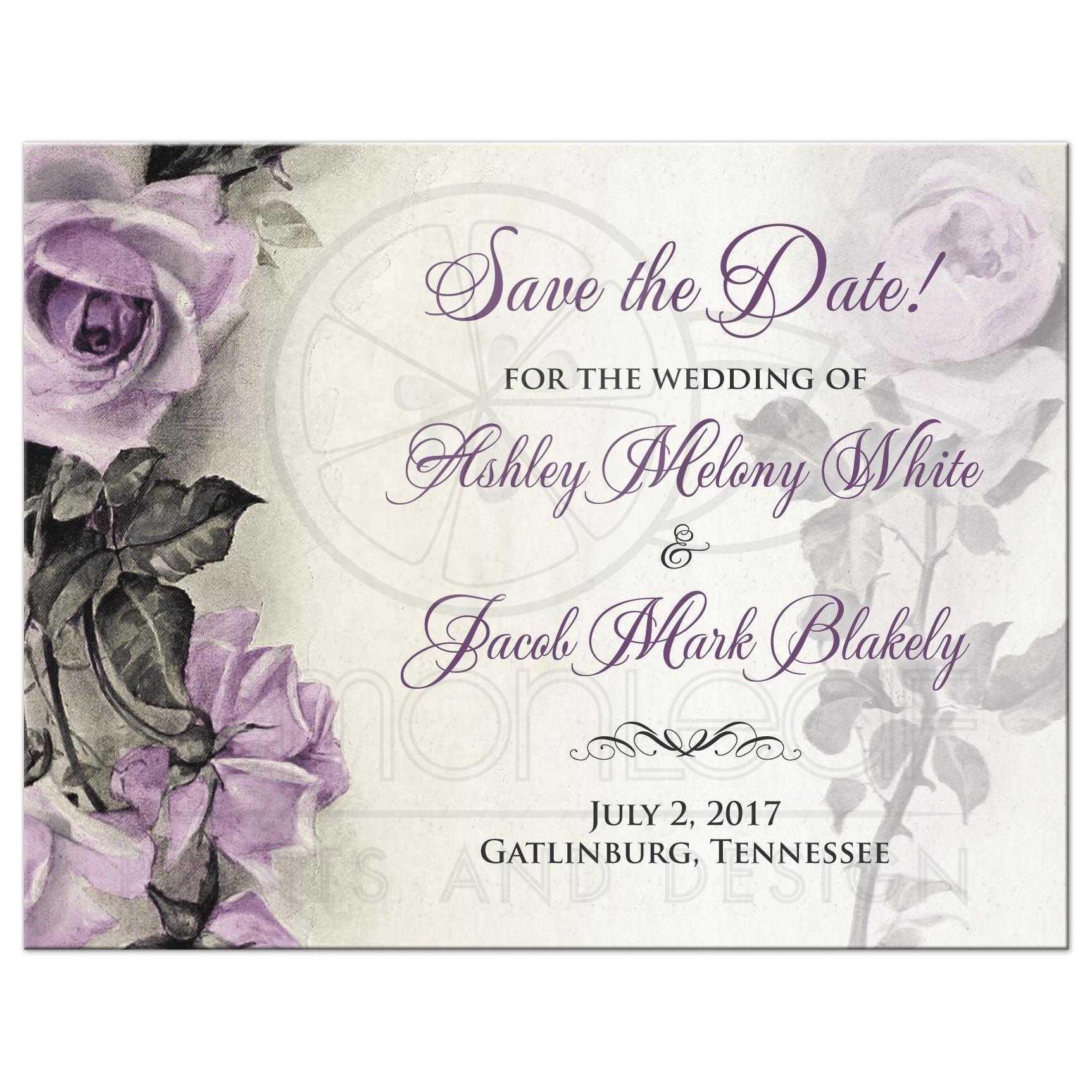 Vintage Mauve Purple Rose Wedding Save the Date Postcard