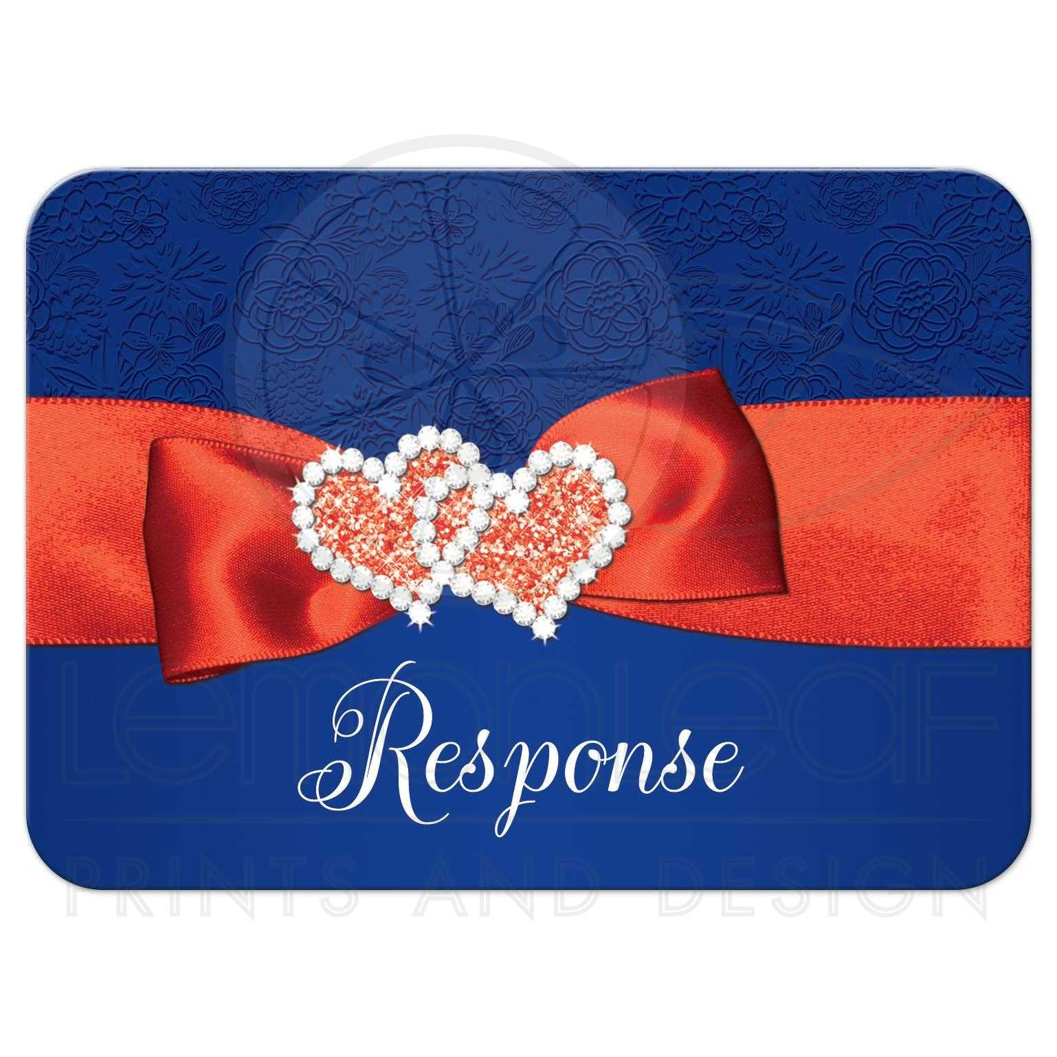 Wedding RSVP Card 2  Royal Blue Orange White Floral