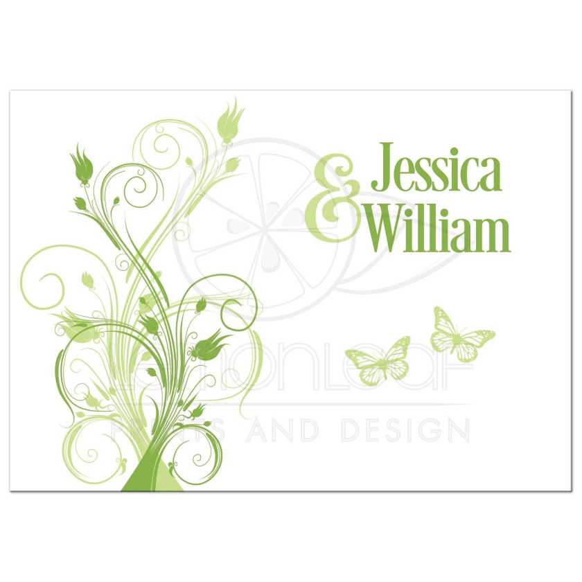 Greenery Celadon Green And White Spring Or Summer Wedding Invitation With Erflies