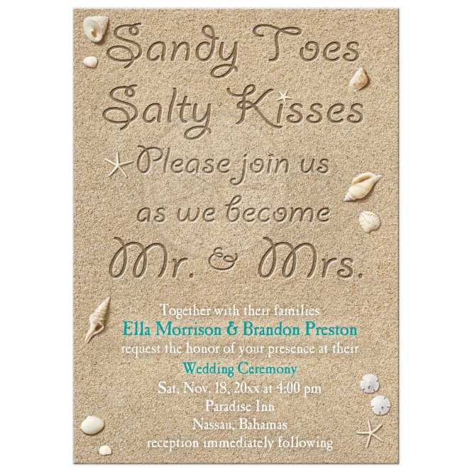Wedding Invitation Beach Sandy Toes Salty Kisses Turquoise