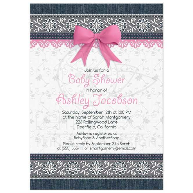 Lace Denim Baby Shower Invitation Pink